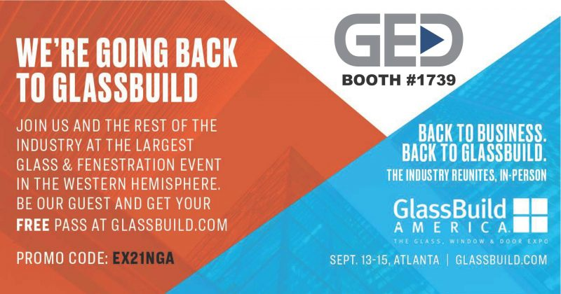 GED booth at GlassBuild promo code